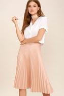 Like a Phenomenon Blush Pink Pleated Midi Skirt 1