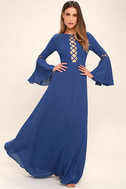 Now is the Time Denim Blue Long Sleeve Maxi Dress 3
