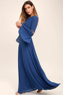 Now is the Time Denim Blue Long Sleeve Maxi Dress 2