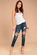 My Sunshine Medium Wash Embroidered Distressed Skinny Jeans 1