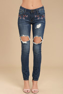 My Sunshine Medium Wash Embroidered Distressed Skinny Jeans 2
