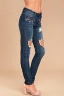 My Sunshine Medium Wash Embroidered Distressed Skinny Jeans 3