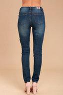 My Sunshine Medium Wash Embroidered Distressed Skinny Jeans 4