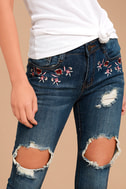 My Sunshine Medium Wash Embroidered Distressed Skinny Jeans 5