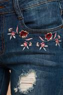 My Sunshine Medium Wash Embroidered Distressed Skinny Jeans 6