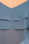 Feeling Sentimental Slate Blue Off-the-Shoulder Top 6