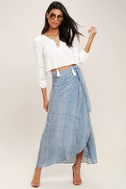 Anniversary White and Blue Striped High-Low Wrap Skirt 2