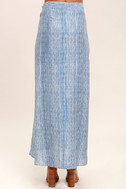 Anniversary White and Blue Striped High-Low Wrap Skirt 4