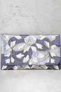 Foliage of Decadence Grey Embroidered Clutch 2