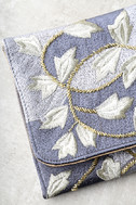 Foliage of Decadence Grey Embroidered Clutch 4