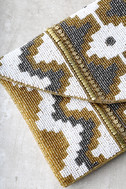 Treasured Possession Gold Beaded Clutch 3