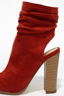 Only the Latest Cinnamon Suede Peep-Toe Booties 7