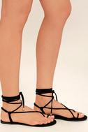 Micah Black Lace-Up Flat Sandals 3