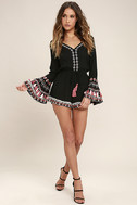 Hiatus Black Embroidered Long Sleeve Romper 2