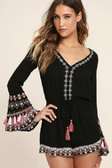 Hiatus Black Embroidered Long Sleeve Romper 3
