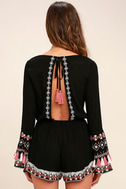Hiatus Black Embroidered Long Sleeve Romper 4