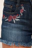 Rustic Charm Medium Wash Embroidered Denim Shorts 6