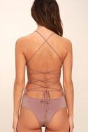 Yvonne Mauve Lace-Up Bodysuit 5