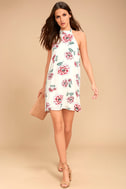 Just for Me Cream Floral Print Backless Swing Dress 2