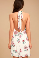 Just for Me Cream Floral Print Backless Swing Dress 4