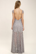 Evening Dreaming Light Grey Lace Maxi Dress 4