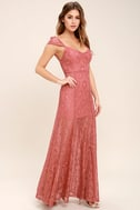 Evening Dreaming Rusty Rose Lace Maxi Dress 3