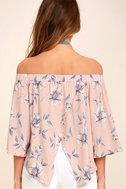 Light of Dawn Blush Pink Floral Print Off-the-Shoulder Top 4