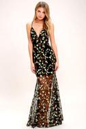 Whimsy Daisy Black Embroidered Maxi Dress 2