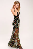 Whimsy Daisy Black Embroidered Maxi Dress 3