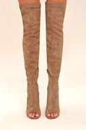 Steve Madden Kimmi Camel Suede Peep-Toe Thigh High Boots 2
