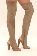 Steve Madden Kimmi Camel Suede Peep-Toe Thigh High Boots 3