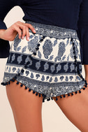 Beauty in the Details Navy Blue Print Shorts 1