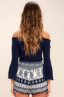 Beauty in the Details Navy Blue Print Shorts 4