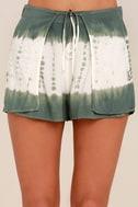 Let's Explore Sage Green Tie-Dye Shorts 5