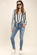 Cole Valley Black and White Striped Top 2