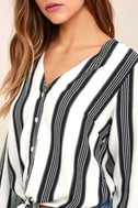 Cole Valley Black and White Striped Top 5