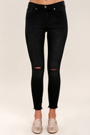 Who Loves You Washed Black Distressed Skinny Jeans 2