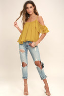 Got Me Moving Golden Yellow Off-the-Shoulder Top 2