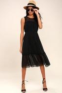 Afternoon Stroll Black Polka Dot Midi Dress 1