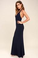 Love Potion Navy Blue Lace Halter Maxi Dress 2
