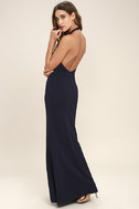 Love Potion Navy Blue Lace Halter Maxi Dress 3