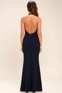 Love Potion Navy Blue Lace Halter Maxi Dress 4