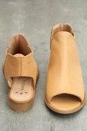 Musse & Cloud Ciara Tan Leather Peep-Toe Booties 3