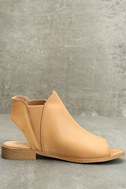 Musse & Cloud Ciara Tan Leather Peep-Toe Booties 4
