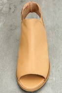 Musse & Cloud Ciara Tan Leather Peep-Toe Booties 5
