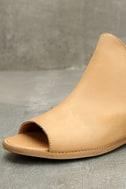 Musse & Cloud Ciara Tan Leather Peep-Toe Booties 6