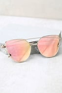 Miss Blue Sky Rose Gold and Pink Mirrored Sunglasses 2
