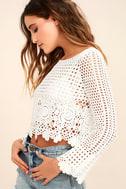 Crystal Grid White Crochet Long Sleeve Crop Top 3
