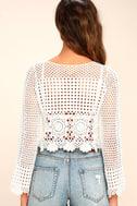Crystal Grid White Crochet Long Sleeve Crop Top 4