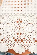 Crystal Grid White Crochet Long Sleeve Crop Top 6